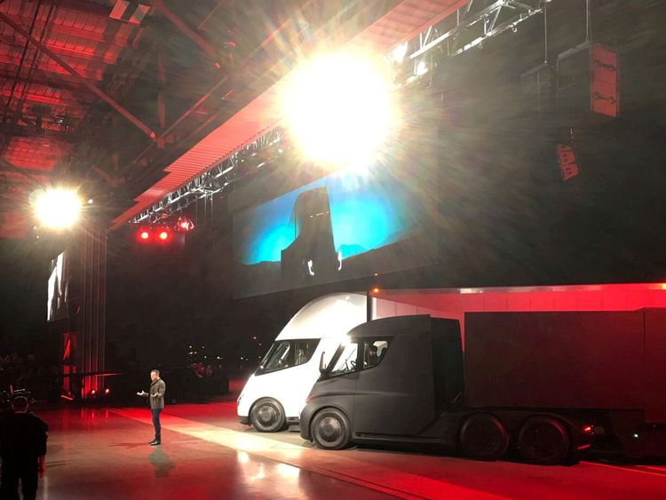 Elon Musk unveiling the Semi truck in Los Angeles