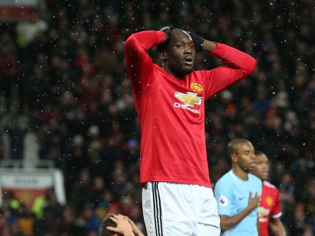 Romelu Lukaku during the Premier League match between Manchester United and Manchester City at Old Trafford on December 10, 2017