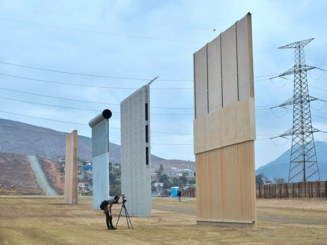 Prototypes of Donald Trump's proposed border wall in San Diego