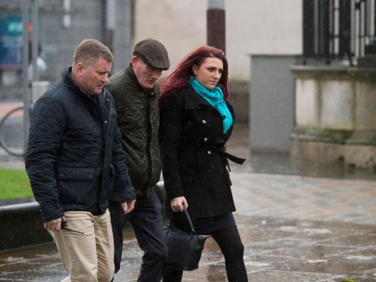 Paul Golding (left) and Jayda Fransen (right) arriving at Belfast Laganside courts