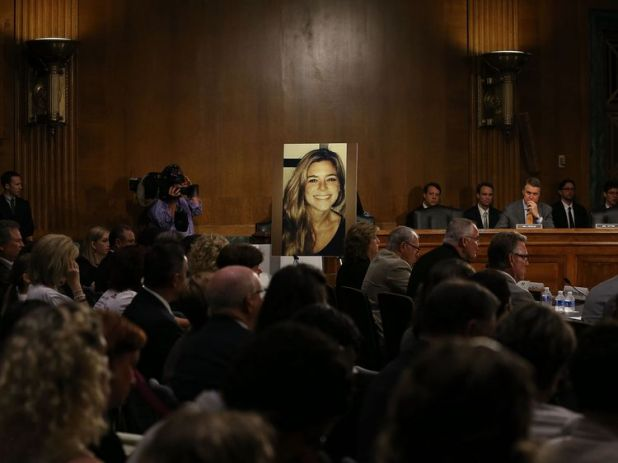 WASHINGTON, DC - JULY 21: A large photo of Kathryn 'Kate' Steinle who was killed by an illegal immigrant in San Francisco, is shown while her dad Jim Steinle testifies during a Senate Judiciary Committee hearing on Capitol Hill, July 21, 2015 in Washington, DC. The committee heard testimony from family members who have had loved ones killed by illegal immigrants. (Photo by Mark Wilson/Getty Images)