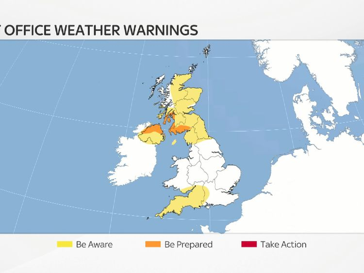There are several weather warnings in force ahead of Storm Dylan