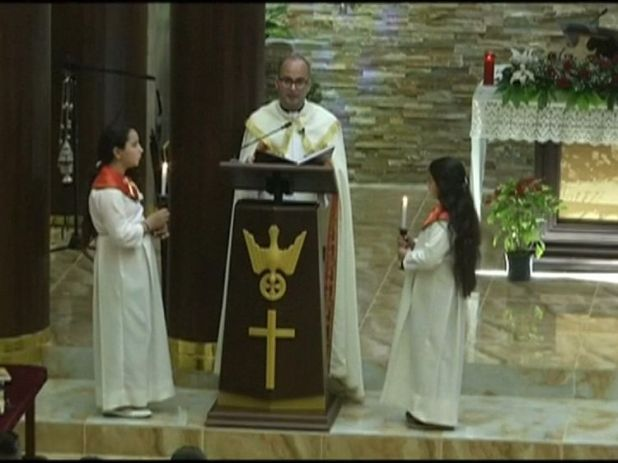 Father Salar Bodagh took charge of the first service in Mosul for four years.