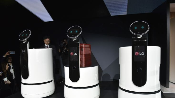 LG service robots are seen during the LG press conference at the Mandalay Bay Convention Cent