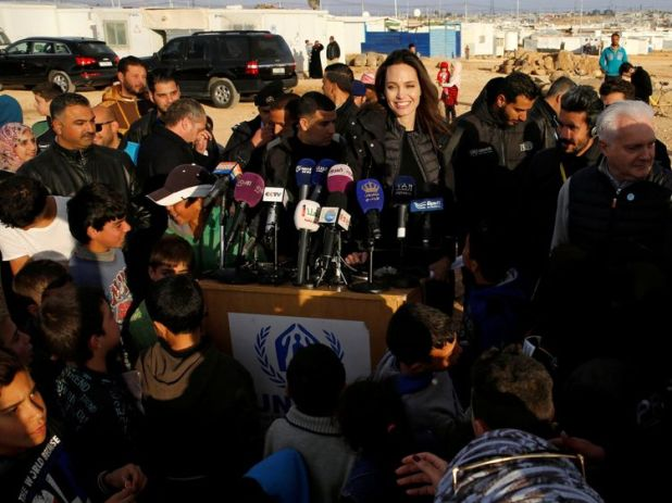 The actress praised countries taking in refugees from Syria