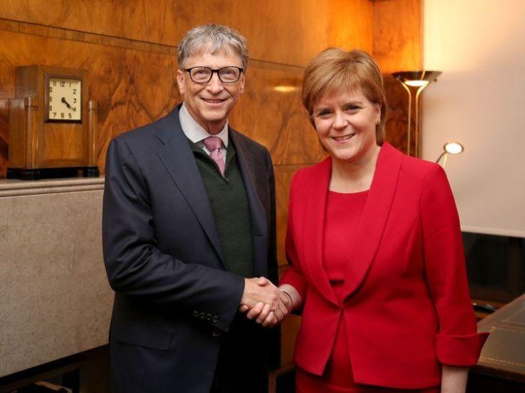 Scottish First Minister Nicola Sturgeon greeted Mr Gates at the university