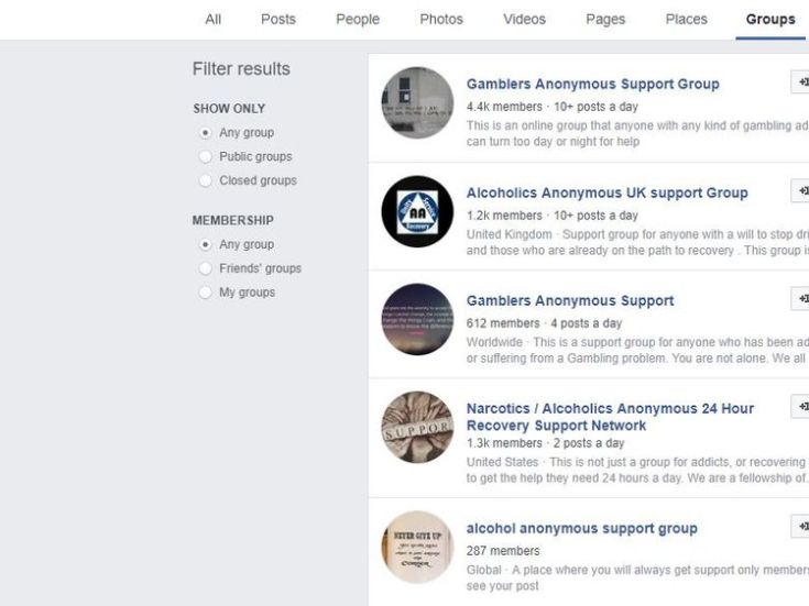 A search found a number of support groups on Facebook that cited anonymity