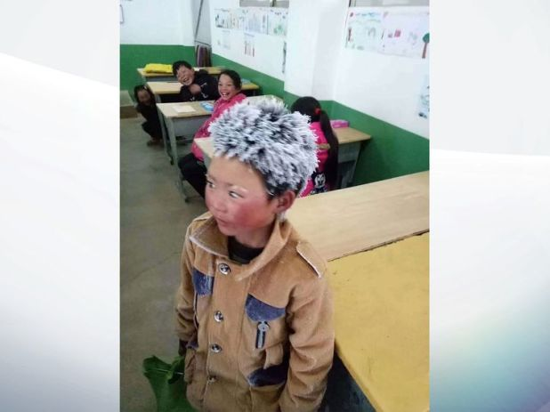 The little boy's classmates were laughing at his icicle hair