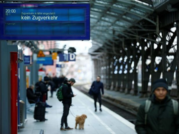 The extreme weather has caused train cancellations across Germany