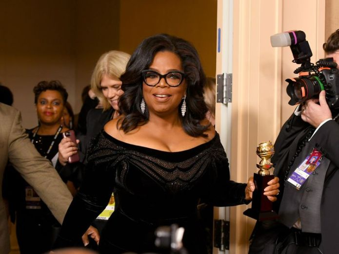 Oprah Winfrey arrives in the Golden Globes press room Trump challenges Oprah to run for 2020 US presidency to 'expose and defeat' her Trump challenges Oprah to run for 2020 US presidency to 'expose and defeat' her skynews oprah winfrey golden globes 4200987