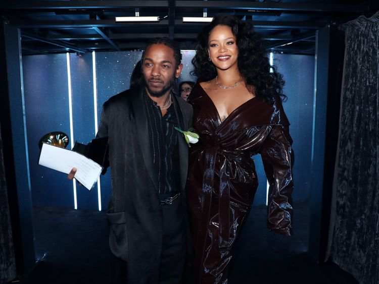 NEW YORK, NY - JANUARY 28: Recording artists Kendrick Lamar and Rihanna attend the 60th Annual GRAMMY Awards at Madison Square Garden on January 28, 2018 in New York City. (Photo by Christopher Polk/Getty Images for NARAS) Editorial subscription SML 4098 x 3123 px | 34.70 x 26.44 cm @ 300 dpi | 12.8 MP  Size Guide Add notes DOWNLOAD AGAIN Details Restrictions:Contact your local office for all commercial or promotional uses. Full editorial rights UK, US, Ireland, Canada (not Quebec). Restricted