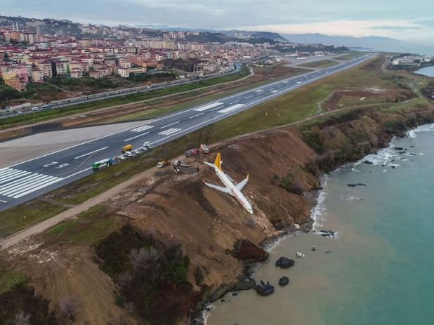 A Pegasus Airlines Boeing 737 passenger plane is seen struck in mud after skidding off the airstrip, after landing at Trabzon's airport on the Black Sea coast