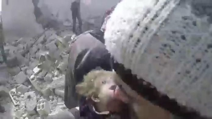Baby girl pulled from under rubble after strikes on eastern Douma Syria regime 'in deadly chlorine gas attack on civilians' Syria regime 'in deadly chlorine gas attack on civilians' skynews syria girl baby rubble 4240760
