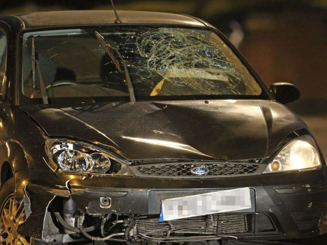 The black Ford Focus found by police had its front smashed in