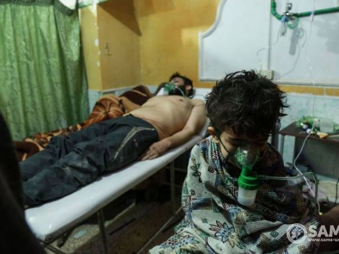 People suffering from suspected exposure to chemical compounds in eastern Ghouta North Korea is selling chemical weapons equipment to Syria, report says North Korea is selling chemical weapons equipment to Syria, report says skynews eastern ghouta suspected exposure 4241090