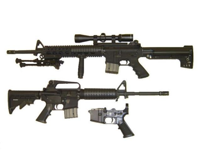 The image shows two different versions of a AR-15 Pic:TheAlphaWolf