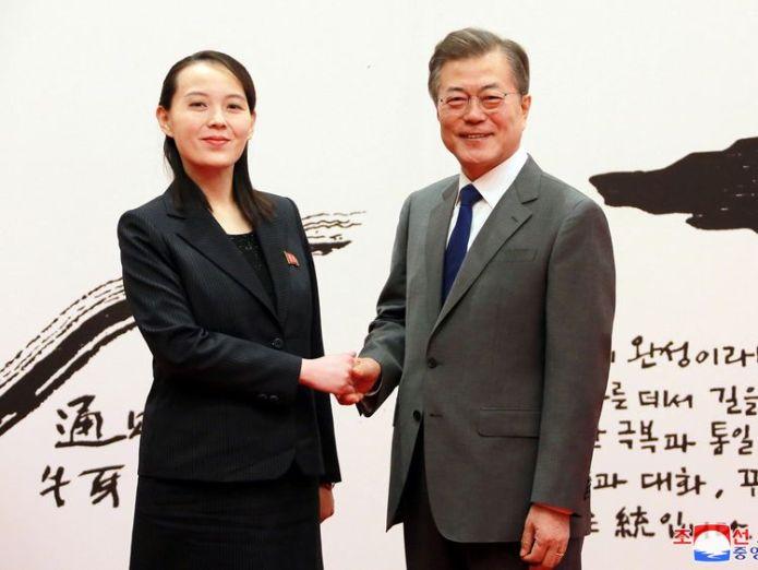 South Korean President Moon Jae-in shakes hands with Kim Yo Jong, the sister of North Korea's leader Kim Jong Un north korea will 'counter' any us military exercises with south korea North Korea will 'counter' any US military exercises with South Korea skynews kim yo jong south korea 4228238