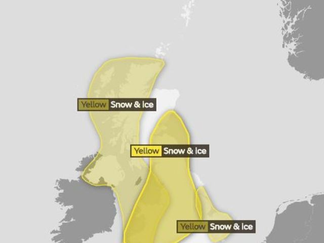 The Met Office's yellow snow and ice warning for Tuesday into Wednesday