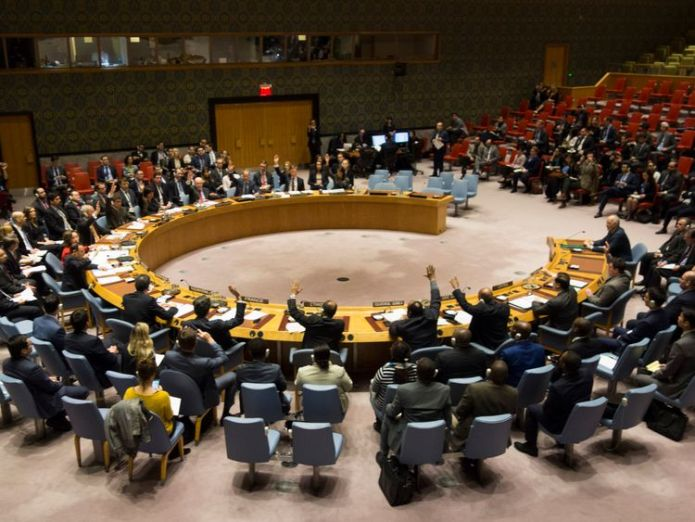 Members of the Security Council vote during a meeting on a ceasefire in Syria Daily pauses on Syria strikes 'not good enough' Daily pauses on Syria strikes 'not good enough' skynews un security council 4240075