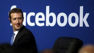 Facebook CEO Mark Zuckerberg is seen on stage during a town hall at Facebook's headquarters in Menlo Park, California September 27, 2015 Facebook data breach firm Cambridge Analytica shutting down Facebook data breach firm Cambridge Analytica shutting down skynews facebook zuckerberg 4261628