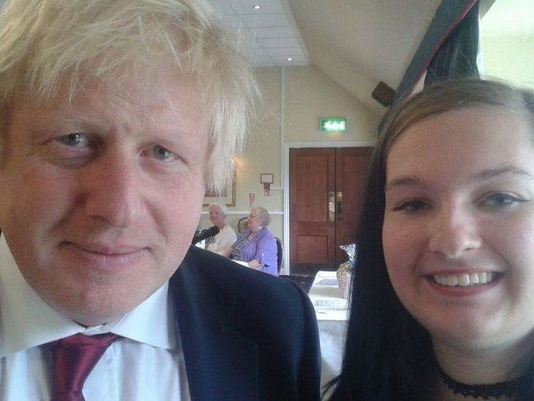 Ms Slade pictured with Foreign Secretary Boris Johnson