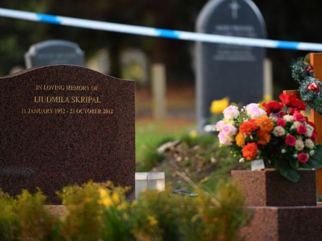 Flowers adorn the grave of Ludmila Skripal, wife of Sergei Skripal at the London road cemetery in Salisbury