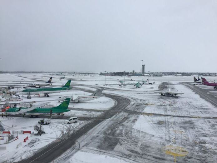 Dublin Airport has effectively been closed. Pic: DublinAirport Ireland on red alert as 'extraordinary' storm approaches Ireland on red alert as 'extraordinary' storm approaches skynews snow dublin airport 4243983