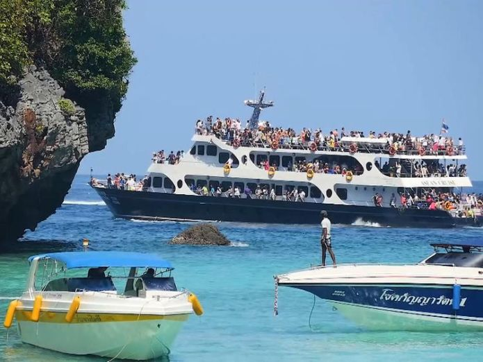 Tourist boats could be banned from entering the bay famous location for dicaprio film the beach being destroyed by tourists Famous location for DiCaprio film The Beach being destroyed by tourists skynews thailand ko phi phi 4246274