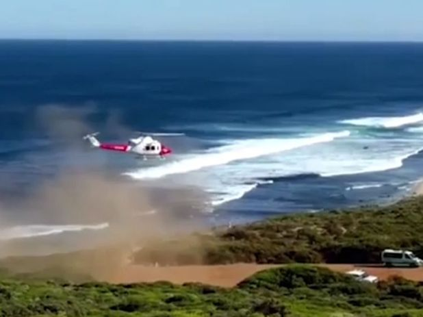 An RAC rescue helicopter at the scene. Pic: WAtoday.com.au