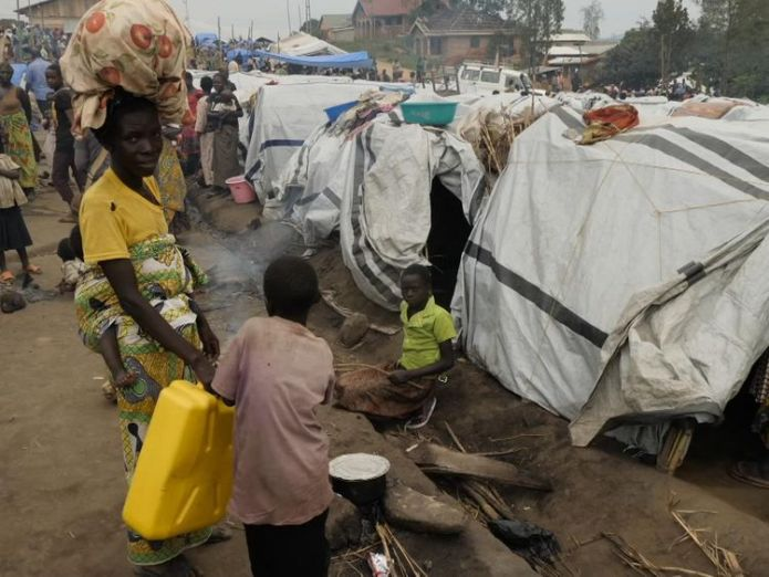 Thousands are living in make shift tents Girl, 10, shares horror of rape amid humanitarian crisis in DR Congo Girl, 10, shares horror of rape amid humanitarian crisis in DR Congo skynews congo bunia 4280248