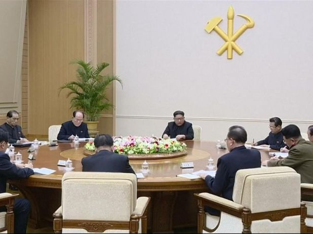 Kim Jong Un addressed top officials of North Korea's ruling party