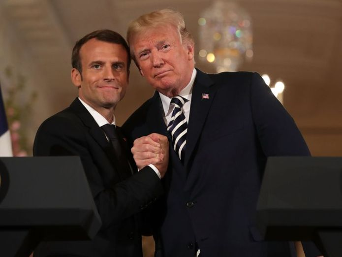 Mr Trump said the pair had a 'great relationship' Isolated Trump to face confrontation from America's closest allies Isolated Trump to face confrontation from America's closest allies skynews macron trump 4291776