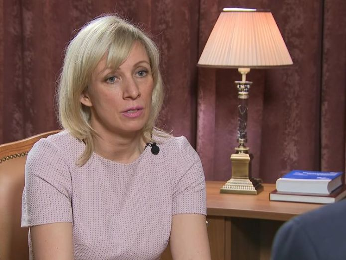Maria Zakharova spoke to Sky News in Moscow We will protect our troops in Syria from US missiles We will protect our troops in Syria from US missiles skynews maria zakhorova russia 4280834