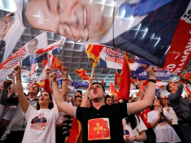 Supporters Djukanovic at a rally in Podgorica