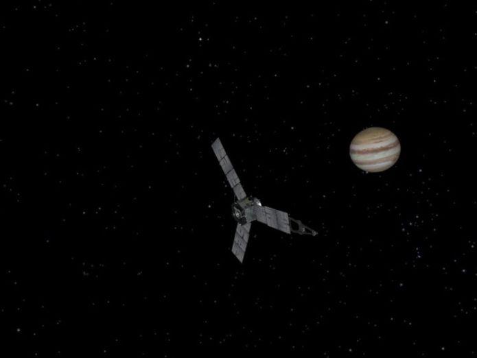 Juno entered Jupiter's orbit on 4 July 2016. Pic: NASA Cyclones look like lava flows in NASA Juno probe's flyover of Jupiter north pole Cyclones look like lava flows in NASA Juno probe's flyover of Jupiter north pole skynews nasa juno spacecraft 4280309