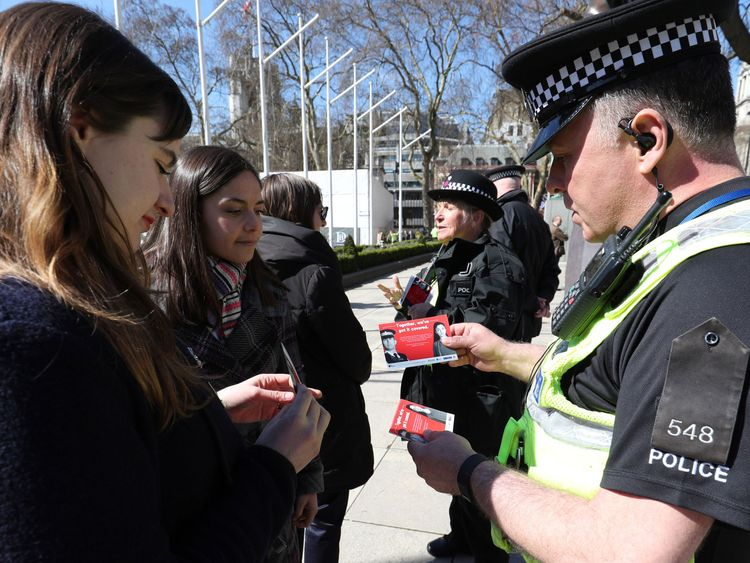Officers inform members of the public about Project Servator after the launch of the operation