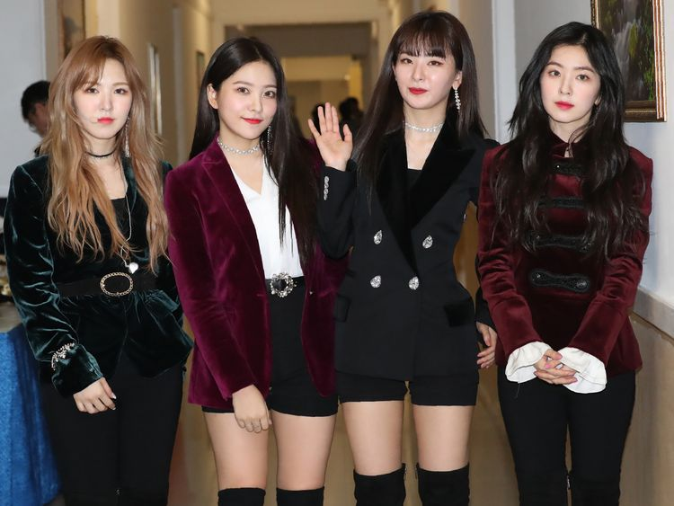 Red Velvet pose after a rehearsal for the concert in the North Korean capital