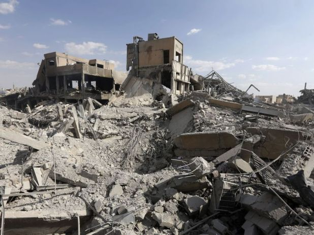 Rubble left behind after the Scientific Studies and Research Centre in Damascus was targeted