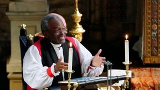 Bishop Curry delivered a sermon at the royal wedding  Royal wedding bishop Michael Curry marches against Trump's 'America First' agenda Royal wedding bishop Michael Curry marches against Trump's 'America First' agenda skynews bishop michael curry 4314916