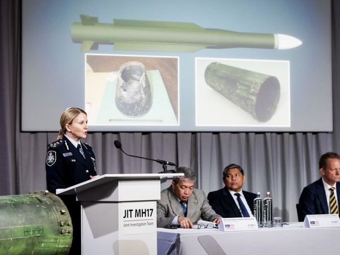 Part of the BUK missile (left) was displayed at the investigation's media confernce Putin dismisses MH17 findings and says 'of course' Russia is not to blame for tragedy Putin dismisses MH17 findings and says 'of course' Russia is not to blame for tragedy skynews buk missile mh17 4320312