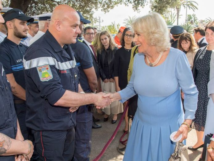 The Duchess of Cornwall talking to members of the emergency services after a service at the Bastille Day attack memorial in Nice, France to commemorate the terror attack which took place on Le Promenade des Anglais in July 2016, as part of their official visit to France and Greece prince charles and camilla pay moving tribute to nice terror attack victims Prince Charles and Camilla pay moving tribute to Nice terror attack victims skynews duchess of cornwall 4303512