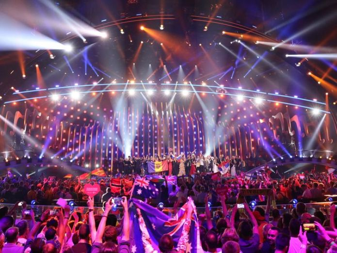 The winning 10 nations of the 2018 second-semi final stand together on stage 'Fake news' row hits Eurovision ahead of final 'Fake news' row hits Eurovision ahead of final skynews eurovision 4306679