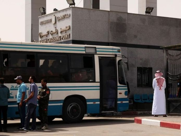 People on a bus from Gaza at the Rafah crossing point The fight to leave the 'open air prison' of Gaza The fight to leave the 'open air prison' of Gaza skynews gaza rafah 4315882