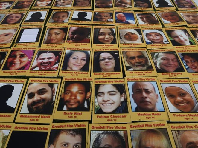 Photos of the Grenfell victims were laid out in Parliament Square ahead of the start of the inquiry
