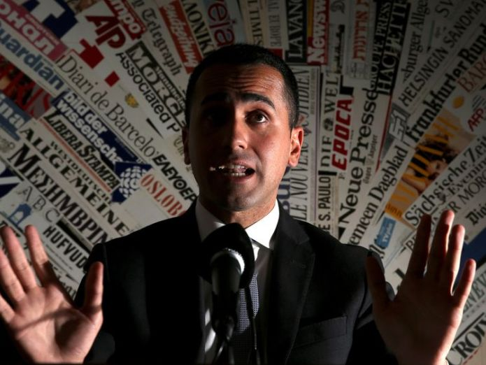 Anti-establishment 5-Star Movement leader Luigi Di Maio gestures during a news conference at the Foreign Press Club in Rome, Italy, March 13, 2018.  Nerves as far-right League party set for office in Italy Nerves as far-right League party set for office in Italy skynews italy luigi di maio 4313751