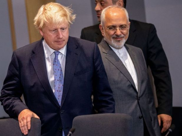 Iran's Foreign Minister Mohammad Javad Zarif and Britain's Foreign Secretary Boris Johnson
