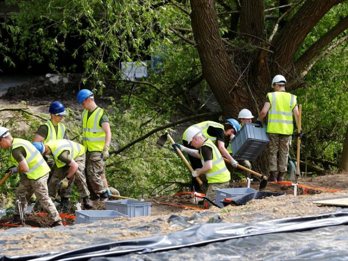Royal Army military police officers dig for remains of Katrice Lee, a two-year-old girl who went missing 36 years ago in Germany where her father was stationed with the British army at the time, near the river of Alme in Paderborn, Germany, May 3, 2018 dig reveals 'no new clues' about toddler who went missing in 1981 Dig reveals 'no new clues' about toddler who went missing in 1981 skynews katrice lee paderborn 4302050