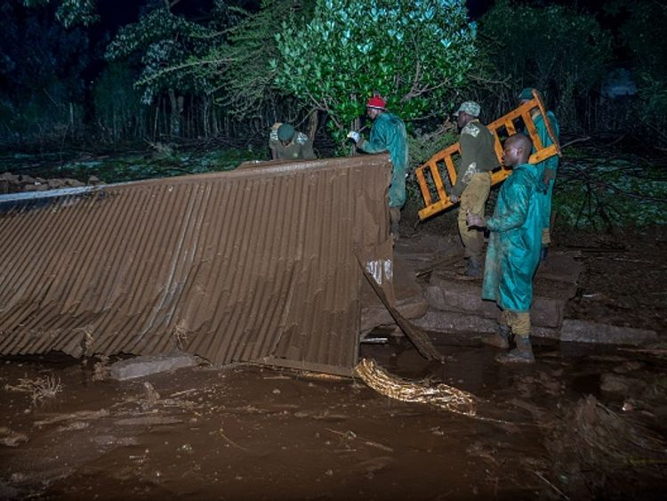 The force of the water has levelled structures in Kenya