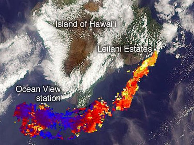 A NASA image of how high the plume will be.  In blue it is zero but the red parts show them rising to 1.5km