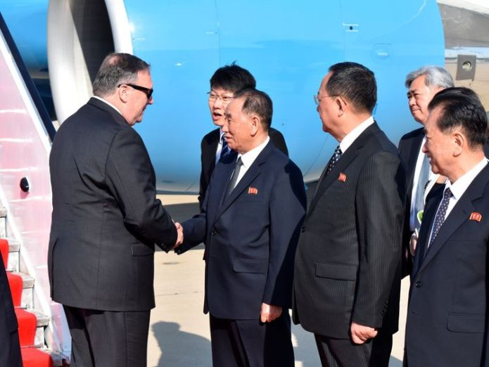 Senior North Korean Official Kim Yong Chol greets US Secretary of State Mike Pompeo earlier this month. top north korea official lands in ny for talks with pompeo Top North Korea official lands in NY for talks with Pompeo skynews kim yong chol north korea 4323459